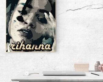 Rihanna poster, Rihanna print, Rihanna wall decor, poster gift, Rihanna wall art, Rihanna printable, Music gift, Rihanna print, hip hop