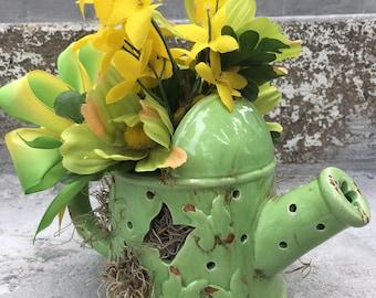 Green Butterfly Watering Can Flower Arrangement