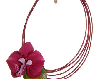 Necklace leather orchid flower offset leather cords