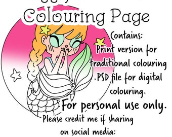Giggling Mermaid Colouring Page