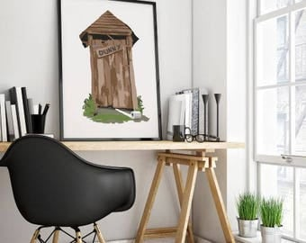 Outhouse art print, Australia outdoor dunny, Toilet print, Humor print, Bathroom art print, instant download