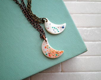 Moon Charm Necklace - Bohemian Layering Jewelry White Mother of Pearl Mini Crescent Moon, Hand Painted Outer Space Dot Art Moon Pendant Gift