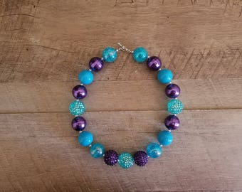 Under The Sea Chunky Necklace, Mermaid Chunky Necklace, Purple & Turquoise Necklace, Bubblegum Bead Necklace, Baby Bubblegum Necklace