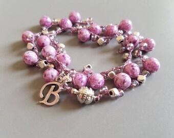 Pink/purple silver personalized beaded wrap bracelet