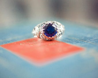 1CT Sapphire 925 Solid Sterling Silver Art Nouveau Filigree Ring Sz 8