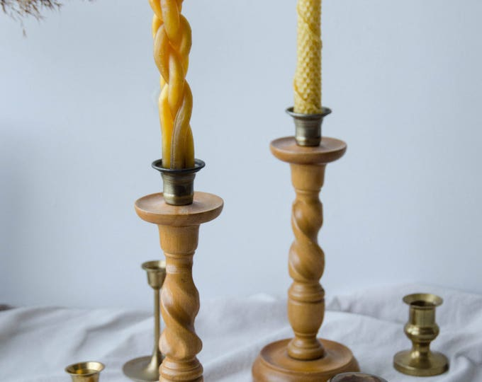 Vintage wood candle holders, set of 2