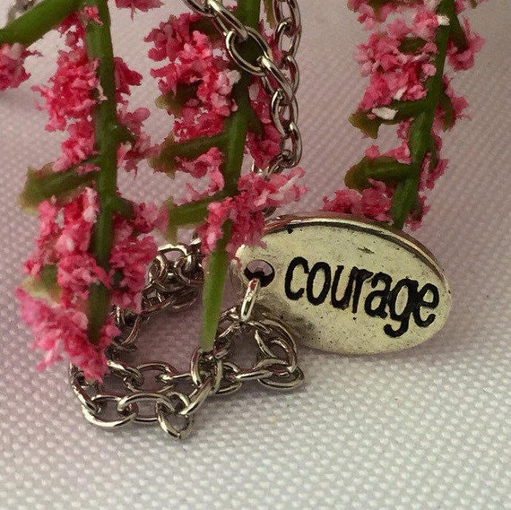 Courage Charm Necklace, Sports Fitness Jewelry, CrossFit Team Gifts, Inspirational Jewelry, Marathon Runner Motivational Gifts, Coach Gifts