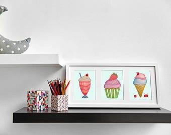 Girls Wall Art, Cupcake Print, Milkshake Print, Ice Cream Print, Gifts for Girls, Kids Art, Kids Print, Kids Gift, Framed