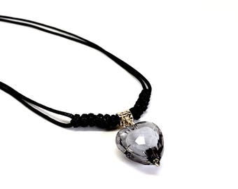 Women Necklace - Black Heart with small white heart inside Pendant. Naked Nation gift box included. Venezuelan design. Gifts for girls