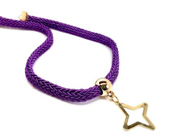 Women Jewellery golden four-point pendant Purple Necklace. Latin-American design - Adjustable. Resemble the cross in christianity - Gift box