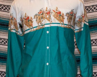 Vintage Roper Western Shirt Cowboy Teal Snap Front M Medium 100% Cotton