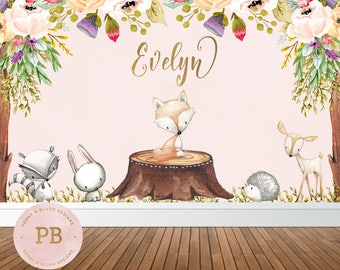 digital woodland birthday backdrop woodland baby shower backdrop woodland animal first birthday backdrop