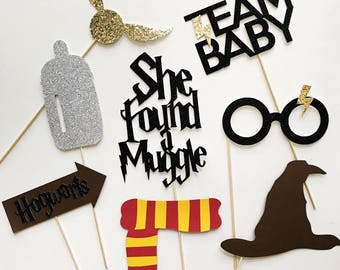 8 piece Glitter Harry Potter Themed Baby Shower Party Photo Booth Props // Muggle, Team Baby, She Found a Muggle, Sorting Hat, Gryffindor