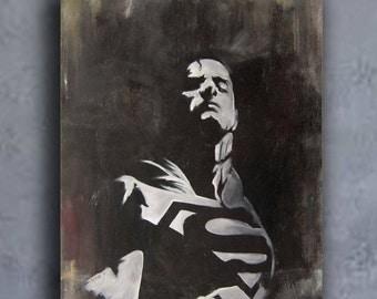 Superman painting. American comic art, superman oil painting,Henry Cavill