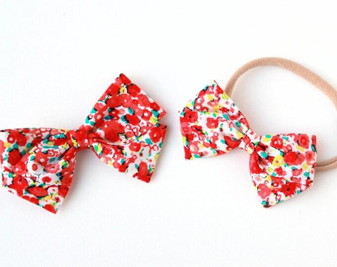 Bow Sale - Red Flower Blossom Bow - Nylon Headband or Clip