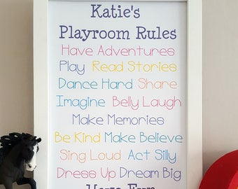 Girls Personalised Playroom Rules - Playroom Rules Print - Girls Playroom Wall Decor - Personalised Rules - Playroom Wall Art - Girls Rules