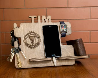 Personalized Manchester United docking station - iPhone charging stand, gift idea - Mens charging dock, Gift for Men