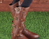 Brown leather high boots for BJD MiniFee (for standard MSD)