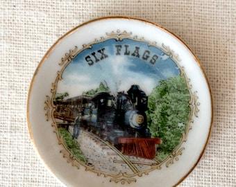 Six Flags Texas Railroad Miniature China Plate and Tea Cup