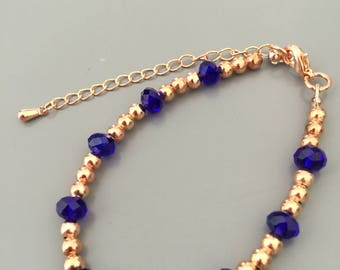 Amici. Rose gold and royal blue beaded bracelet