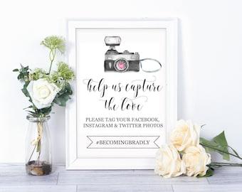 Help Us Capture the Love/Wedding Hashtag printable/ Custom Print/ Social Media Print/