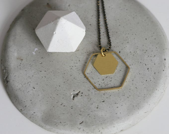 Brass Hexagon Necklace | Minimalist | Geometric | Gift |