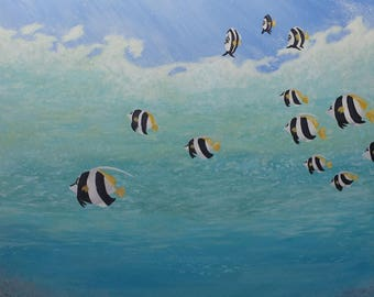 Under the Sea | 18x24 Acrylic Painting on Canvas | Fish Painting | Ocean Art | Contemporary Wall Art | Blue