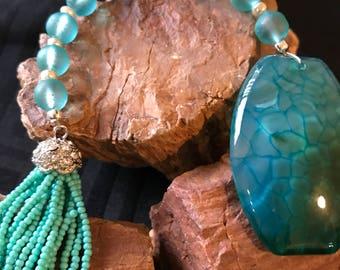 Teal Agate & Quartz  Pocket Prayer Beads w/ Crystal Tassel