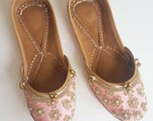 Baby Pink Ballet Shoes - Soft Pink Flats - Pink Punjabi Jutti with Pearls, Indian Jewelry, Indian Shoes, Pink Punjabi Juthi, Slip On Shoes