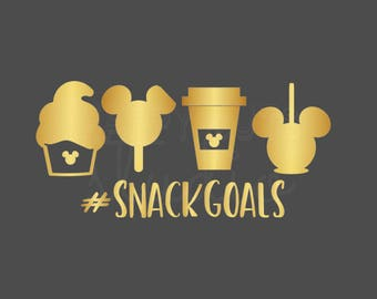 Snack Goals #snackgoals Dole Whip Mickey Mouse Ice Cream Matching Family Disneyland Disney World Vacation Iron On Vinyl Decal for Shirt 019