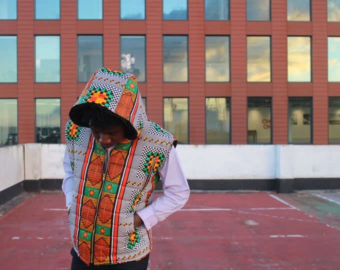 Featured listing image: African Body Warmer- African Print Jacket - African Vest - African Clothing - African Gilet - Padded Jacket - Festival Clothing