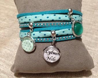 Bracelet cabochon customizable - message - green polka dot - name - gift idea