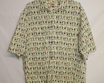 Vintage - 80's - BENETTON - Mens button-up shirt - MEDIUM - Made in Italy
