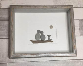 Pebble Art Couple with Dog ~ unique engagement gift, bridal shower gift, wedding gift, anniversary gift, housewarming gift, retirement gift