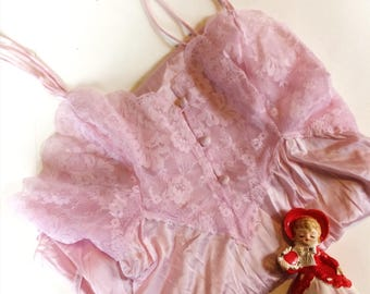 60s Vintage Lace and Button Light Pink Slip Dress