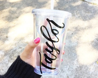 Personalized Tumbler, Tumbler with straw, Tumbler cups, Bridesmaid gift, Gift for her, Personalized gift, Tumbler Cup