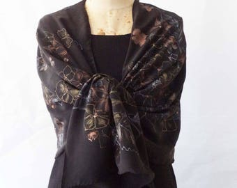HANDPAINTED SILK SHAWL silk Crepe de Chine/Black backdrop/Hydrangeas Bouquet/Gold Silver Copper/Evening Shawl/Elegant Luxurious One of Kind