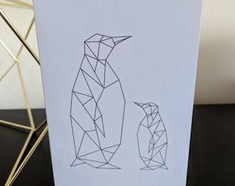 A6 Geometric Penguin Family Greetings Card