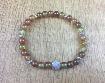 Gemstone Yoga Chakra Healing Bracelet Crazy Lace Agate Gift Reiki Sun 18cm 207