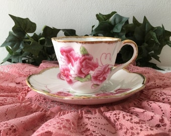 1960's Sweet Pea Tea Cup and Saucer