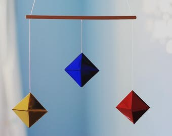 Octahedron mobile. Montessori inpired mobile. Baby mobile. Newborn toy. Baby toy. Early learning toy. Baby development toy. Hanging mobile.