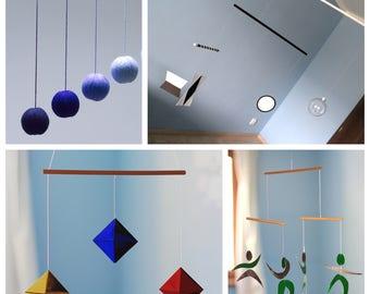 Set of 4 Montessori inspired mobiles - Glass Munari, Gobbi, Octahedron,  Dancer Mobile.