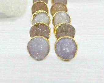 Raw Druzy Studs, Druzy Stud Earrings, Raw Stone Earrings, Druzy Studs, Gold Druzy Studs, Wedding Earrings, Bridal Earrings, Druzy Jewelry,