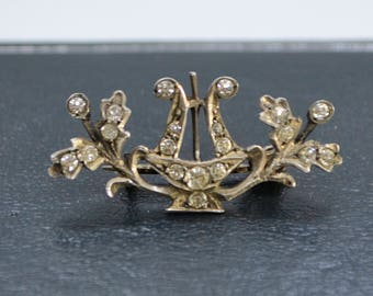 Victorian Solid SILVER Sparkly Diamond Paste LYRE Harp & OAK Leaves Brooch