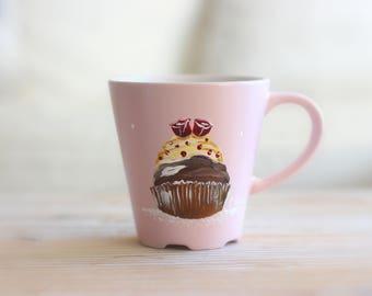 "Grand mug rose poudré ""cupcake aux roses"" C.Kim"