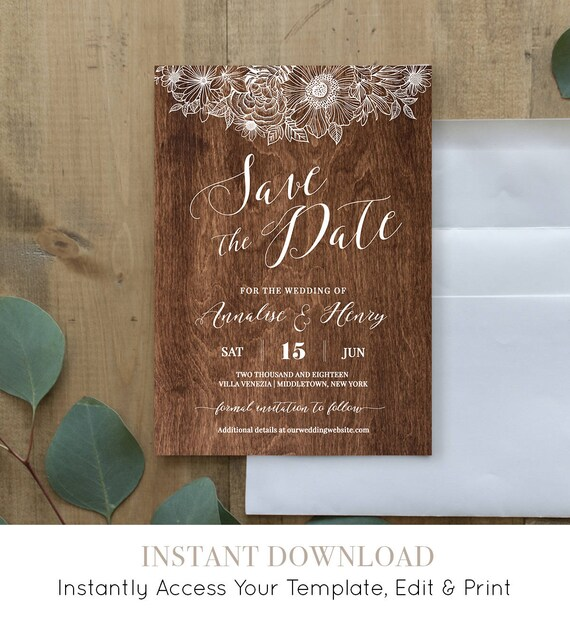 Save the Date Template, Printable Rustic Wedding Date Card, DIY Wood Wedding, 100% Editable Template, Instant Download, Digital #025-115SD