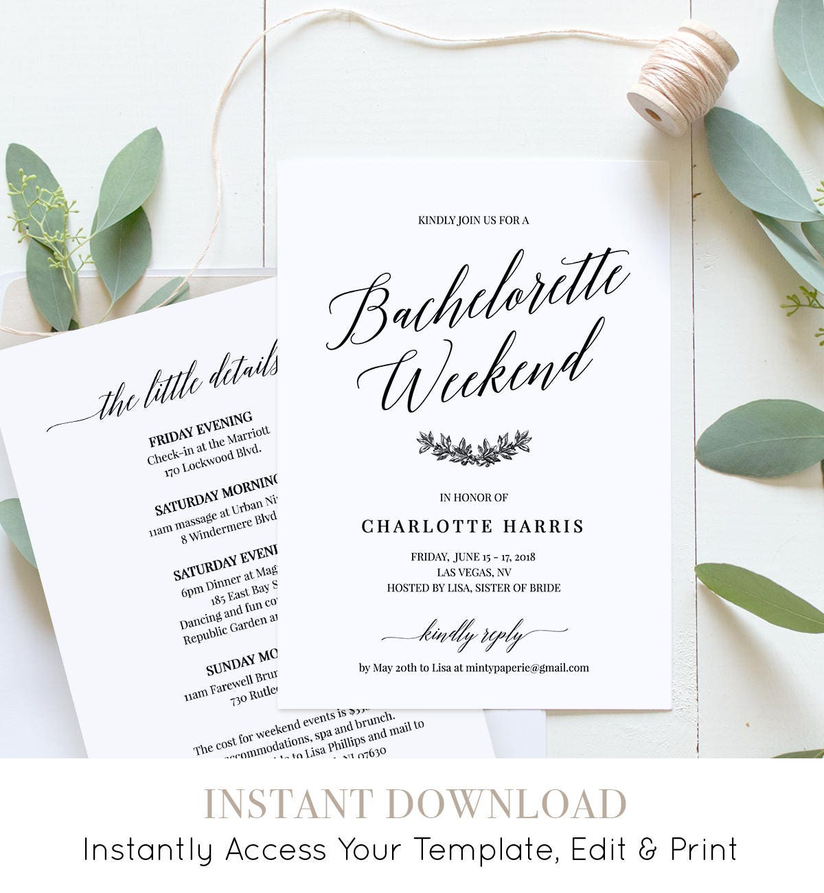 bachelorette party weekend invitation itinerary agenda weekend events 100 editable template. Black Bedroom Furniture Sets. Home Design Ideas
