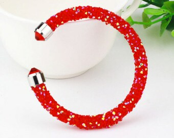 Colorful Women Crystal Open Bracelet Rhinestone