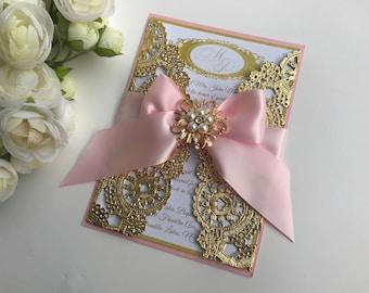 gold wedding invitation gold box invitation gold metallic wedding invitation gold doily invitation - Purple And Gold Wedding Invitations