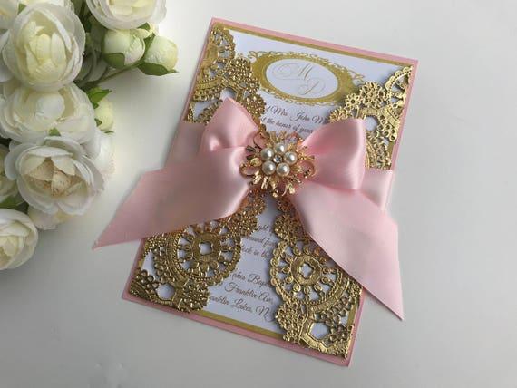 Purple And Gold Wedding Invitations: Gold Wedding Invitation Gold Box Invitation Gold Metallic